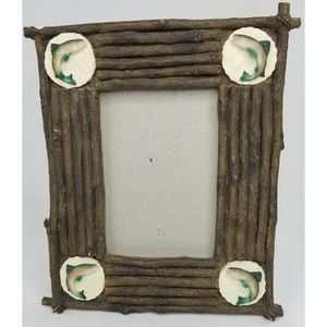 Cabin Style Log Fish Picture Frame 4x6 Photos